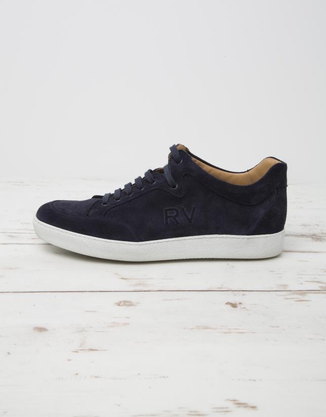 Navy blue sneakers