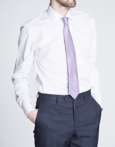 Chemise costume mauve à rayures
