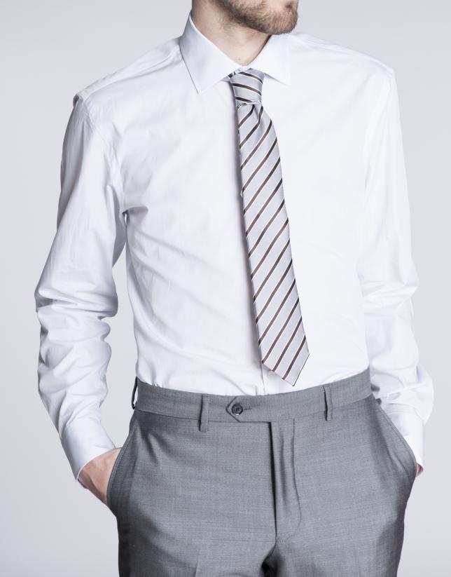 Chemise costume unie mauve