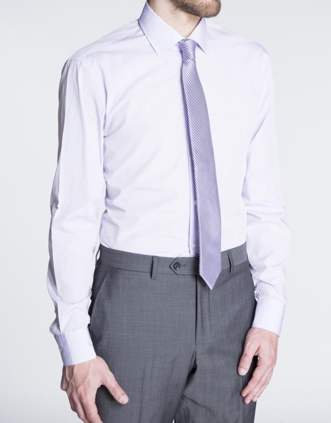 Chemise costume unie grise