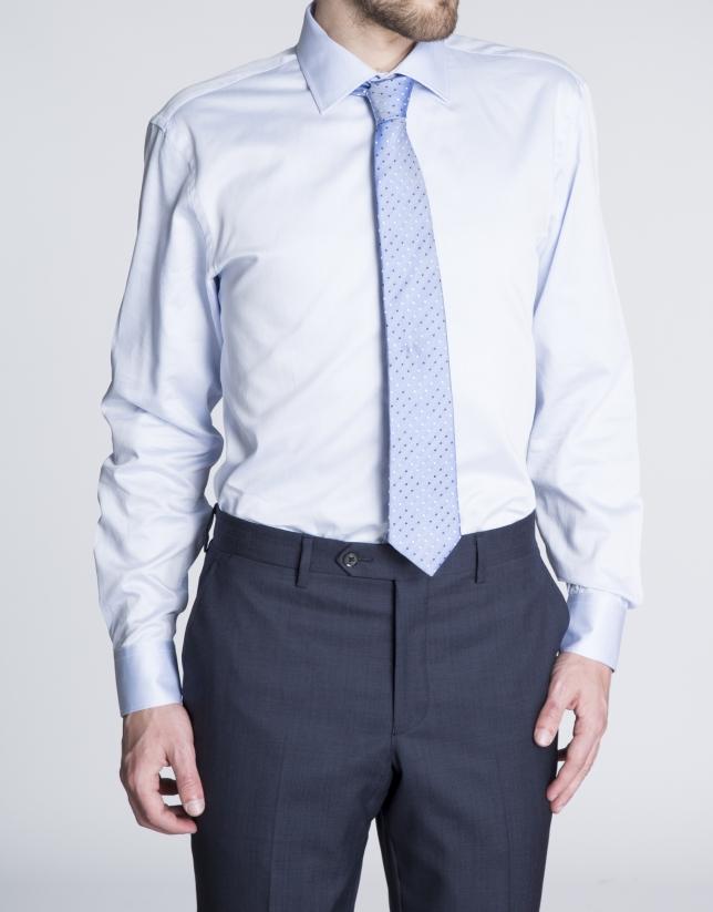 Chemise costume bleue à micro-motifs