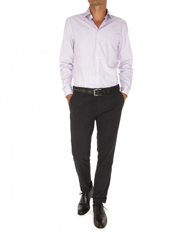 camisa vestir jacquard rayas