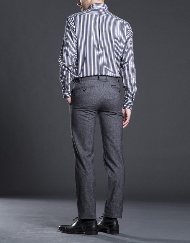 Pantalon ville gris à micromotif