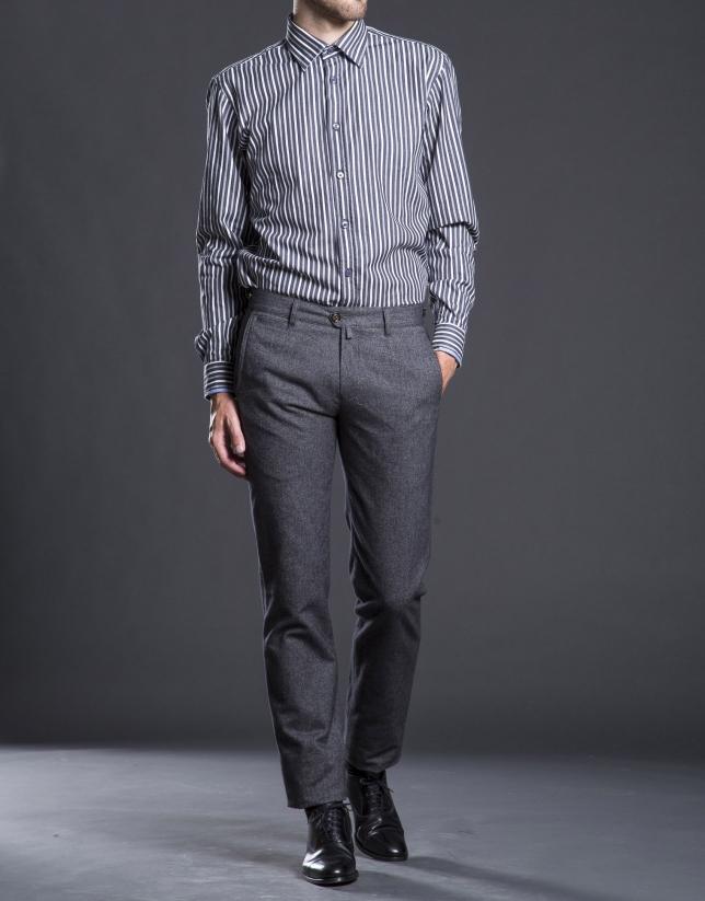 Gray micro-print pants