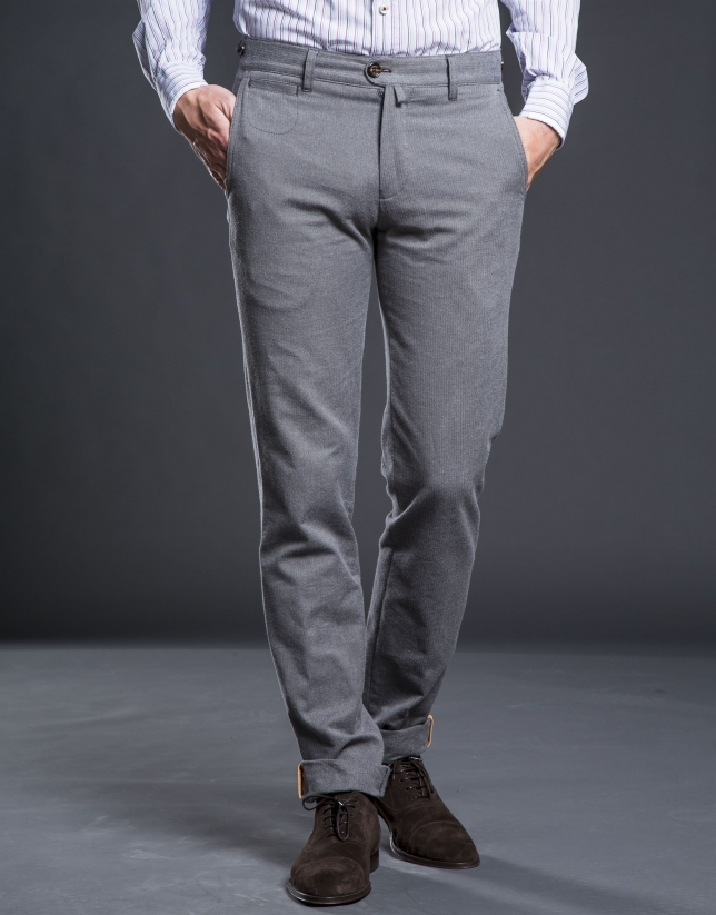 Gray herringbone pants