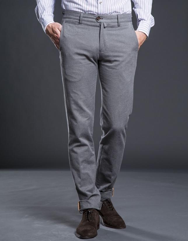 Pantalon ville chevron gris