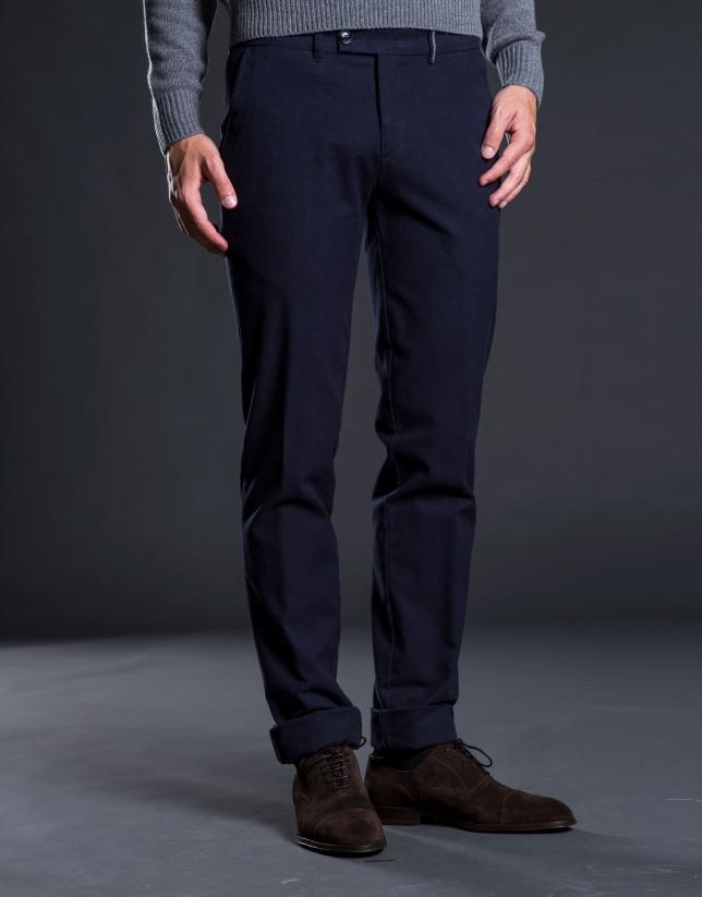 Pantalon ville pied-de-poule bleu