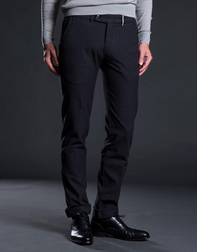 Pantalon ville pied-de-poule gris