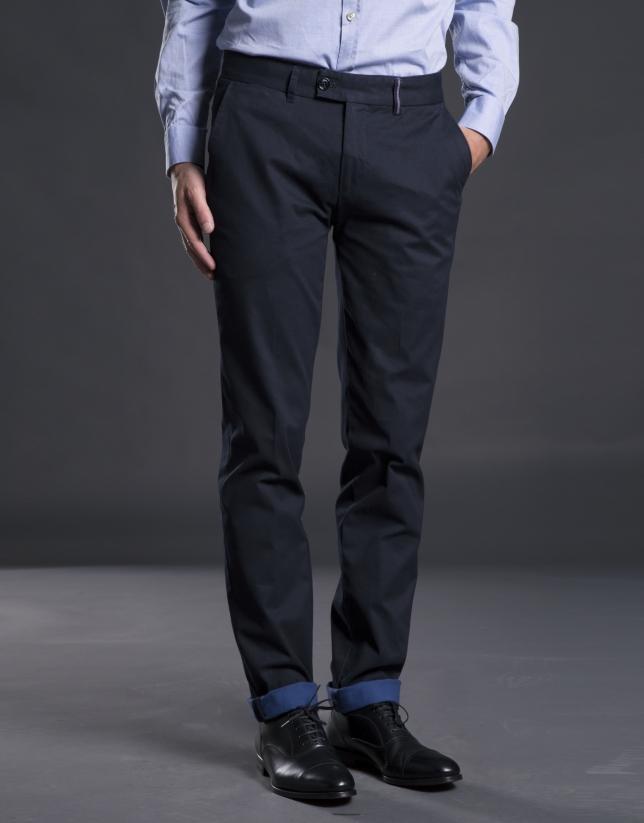 Pantalon ville coton bleu