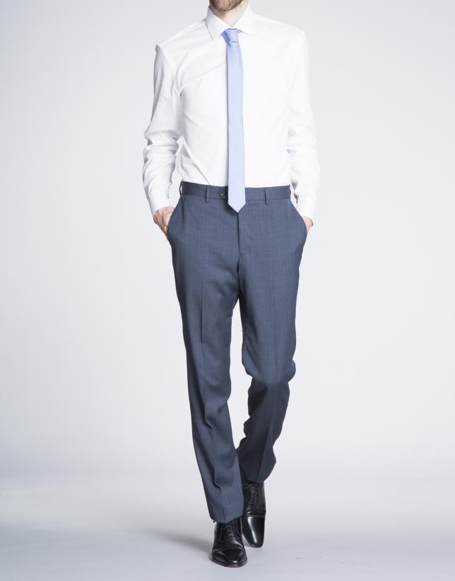 Chemise costume blanche à micro-motifs