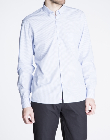 Blue striped jacquard sports shirt