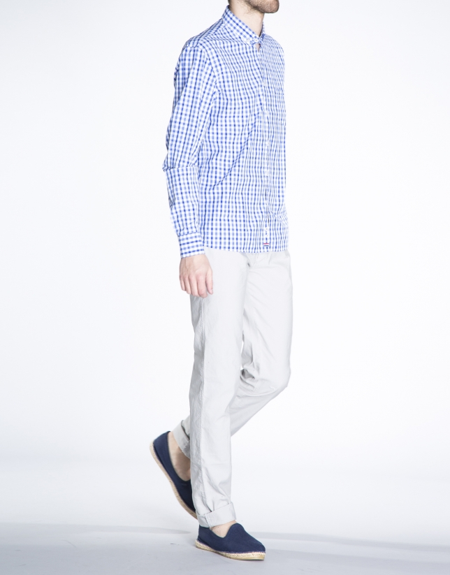 Camisa azul sport cuadros