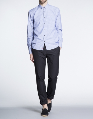 Blue jacquard sports shirt