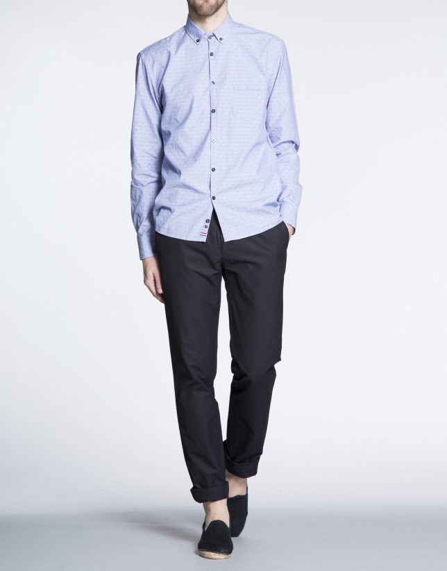 Camisa azul sport Jacquard