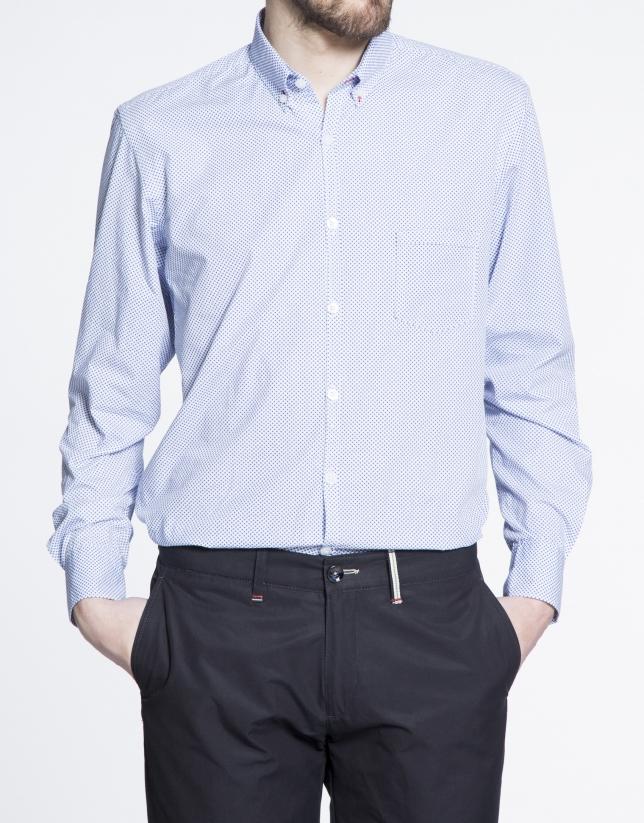 Camisa azul sport microdibujo estampado