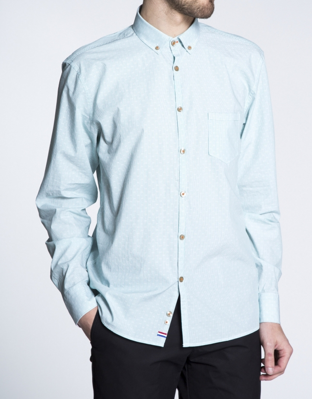 Green striped jacquard sports shirt