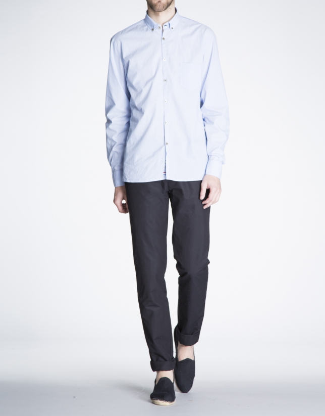 Camisa azul sport Jacquard rayas