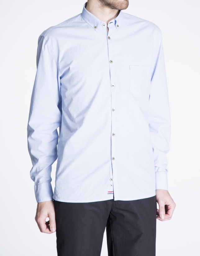 Blue striped jacquard sports shirt