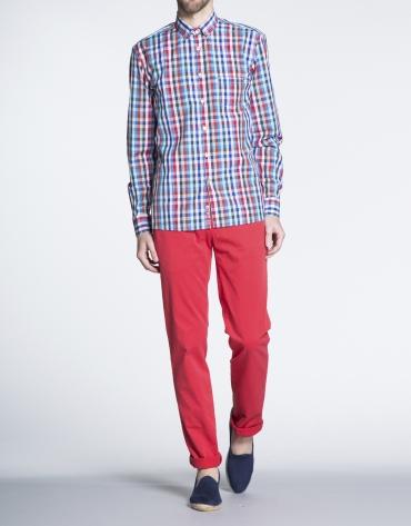 Camisa azul y rojo sport cuadros