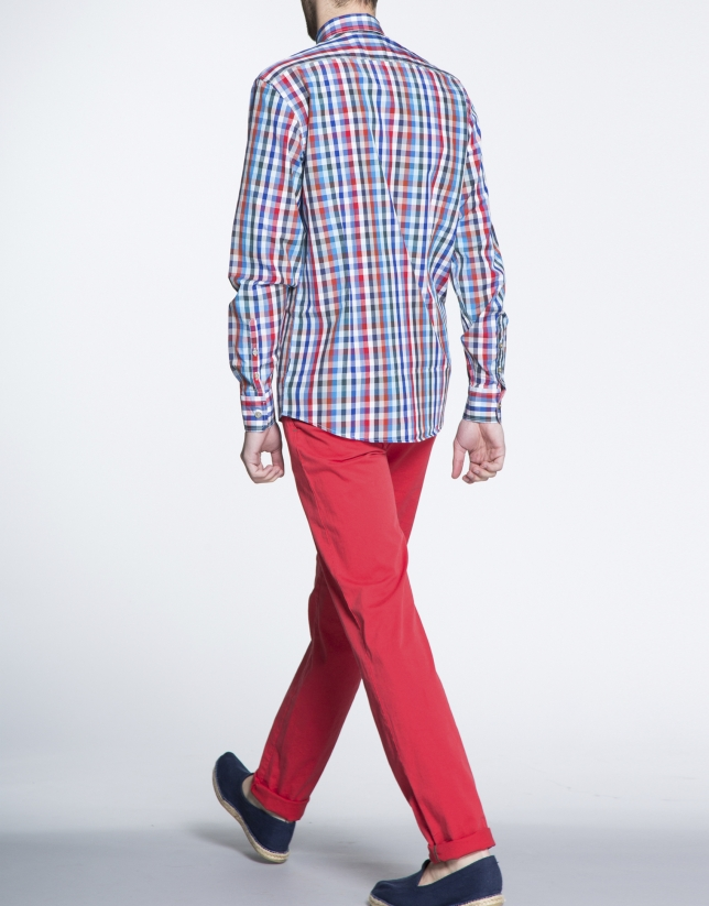 Blue and red checked sports shirt