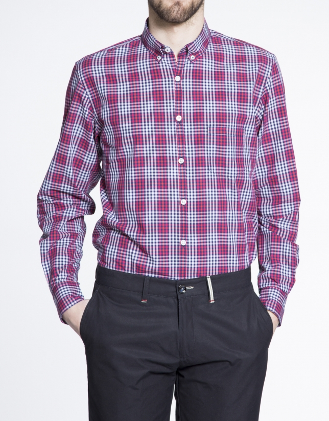 Red and navy blue checked sports shirt