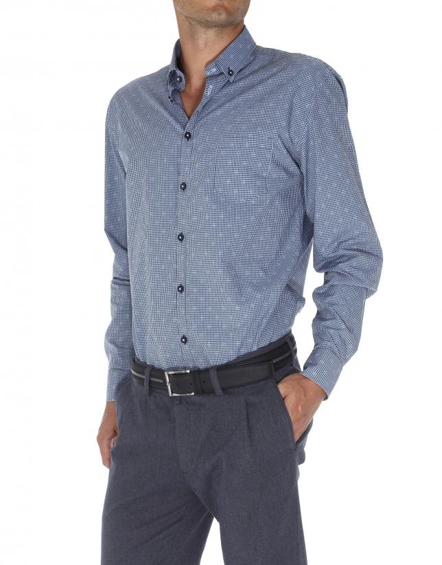 Checked jacquard sport shirt