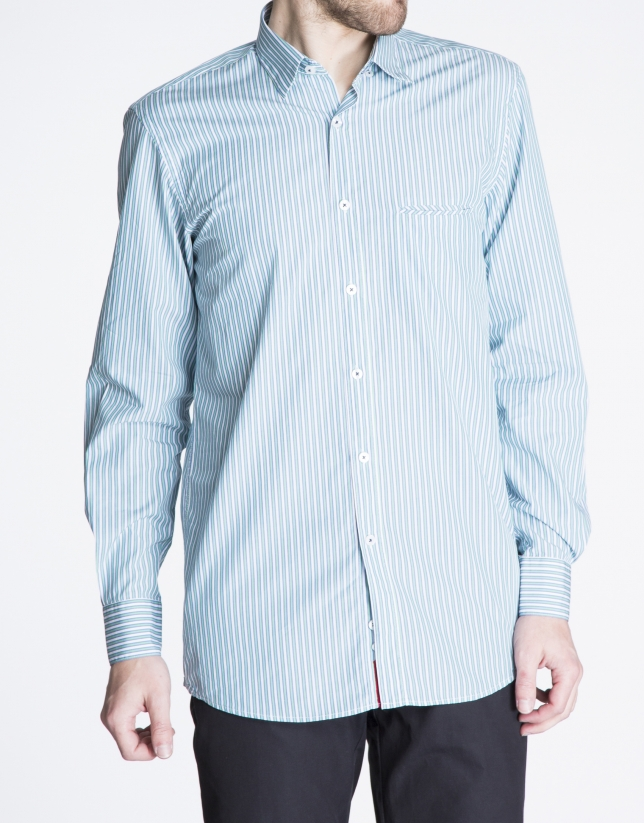 Blue and green striped sports shirt.