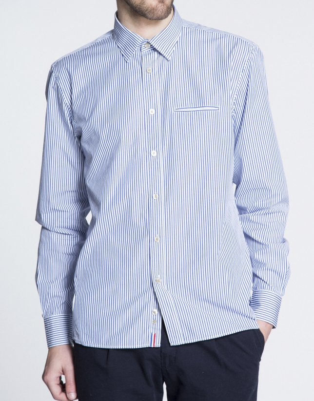 Blue striped sports shirt