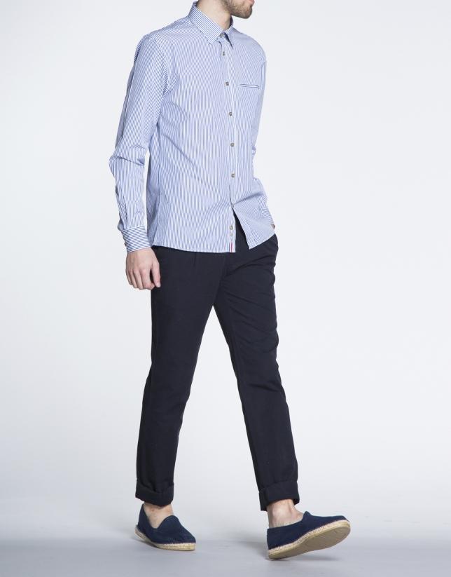 Chemise ville bleue à rayures