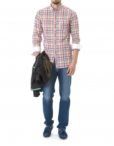 Multicolored checked sport shirt