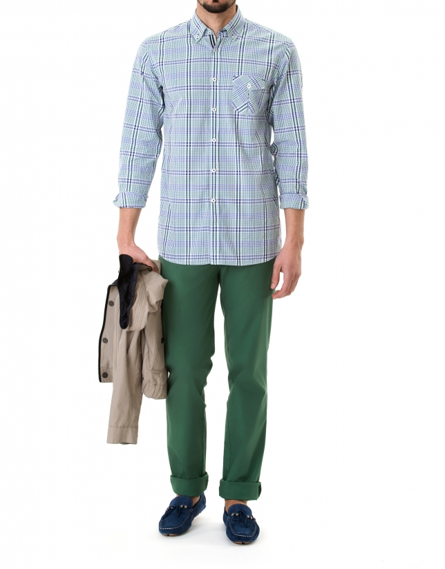Chemise ville à carreaux bleue et vert