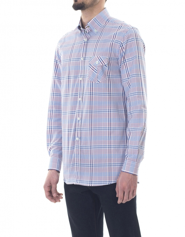 Chemise ville à carreaux bleue et roug