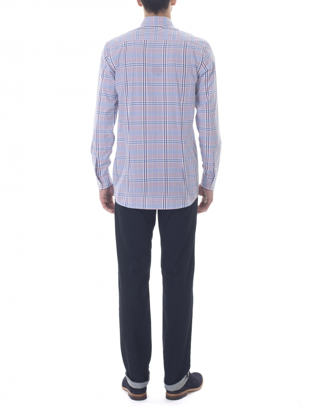 Blue and red checked premium fit sport shirt