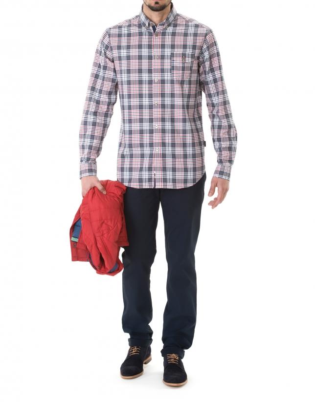 Chemise ville à grands carreaux bleue et rouge