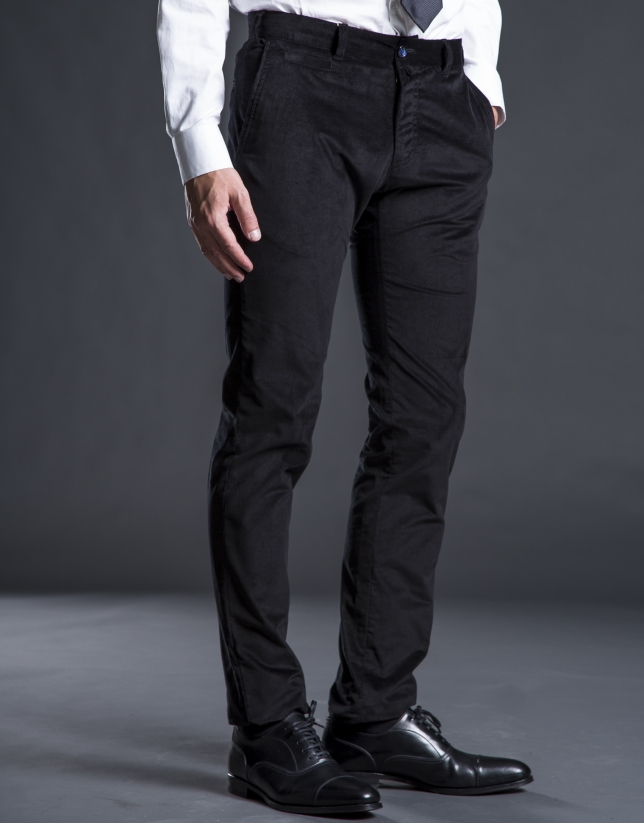 Black velveteen pants