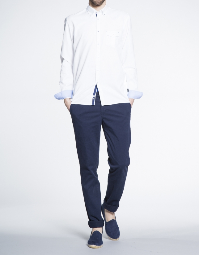 Camisa blanca sport microdibujo