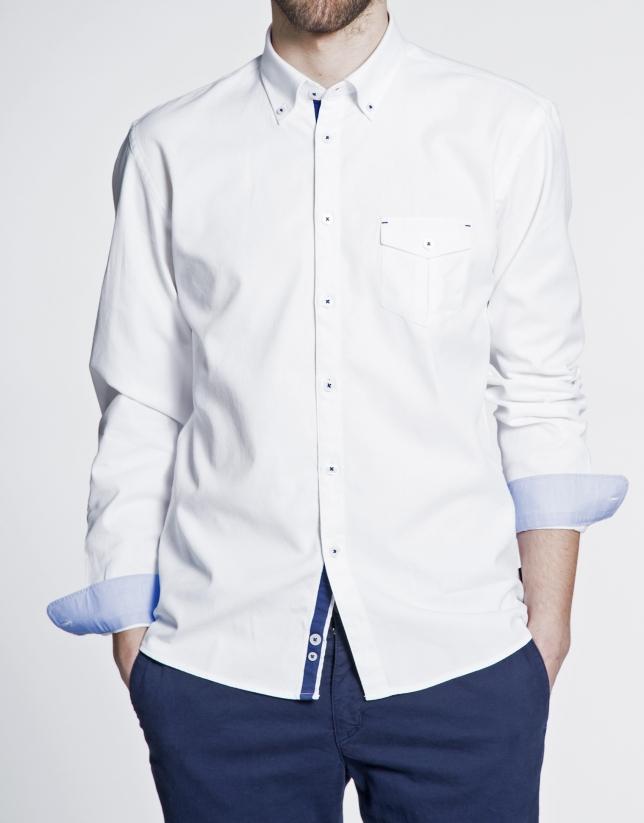 Chemise ville blanche à micro-motifs