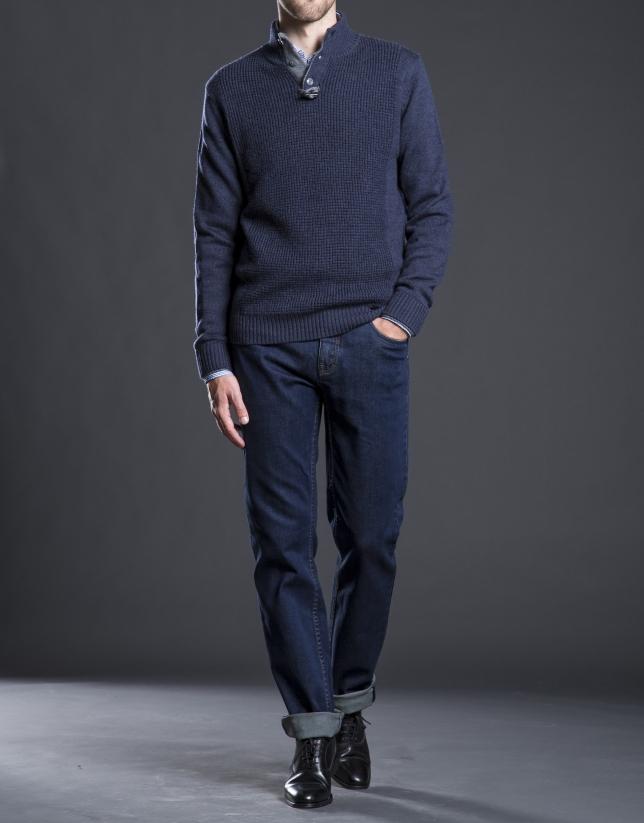 Pantalon jean ajusté bleu