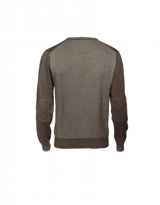 Brown striped wool/cashmere pullover