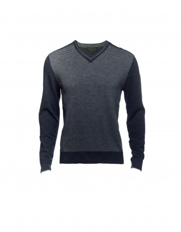 Blue wool/cashmere pullover