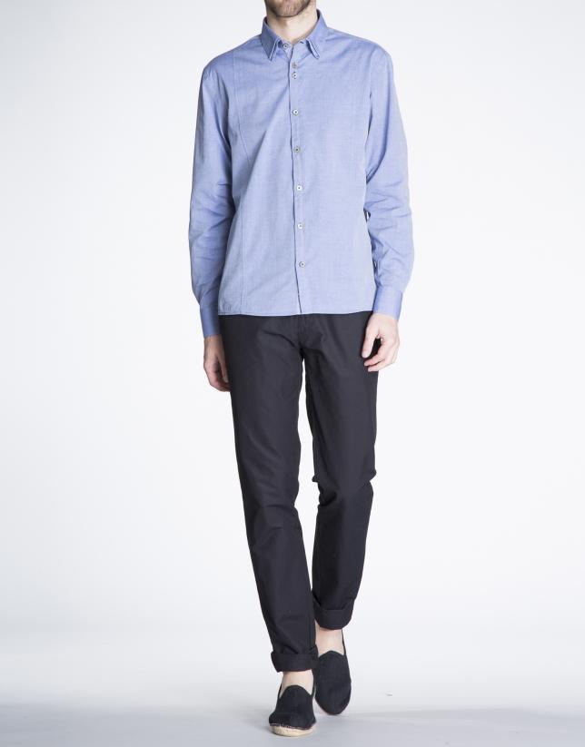 Blue twill sports shirt