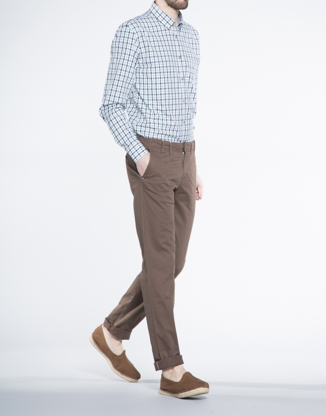 Blue and coral checked sports shirt