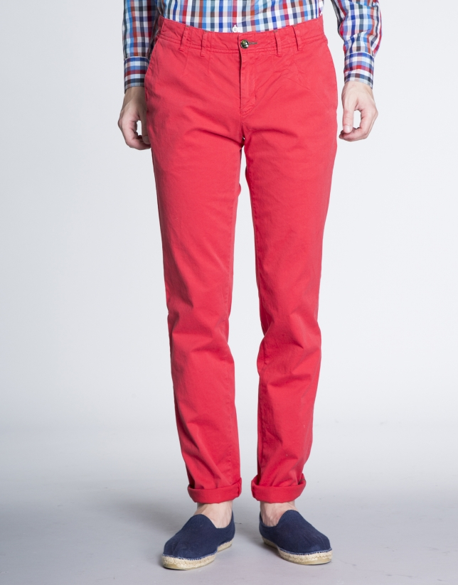 Coral twill sports pants