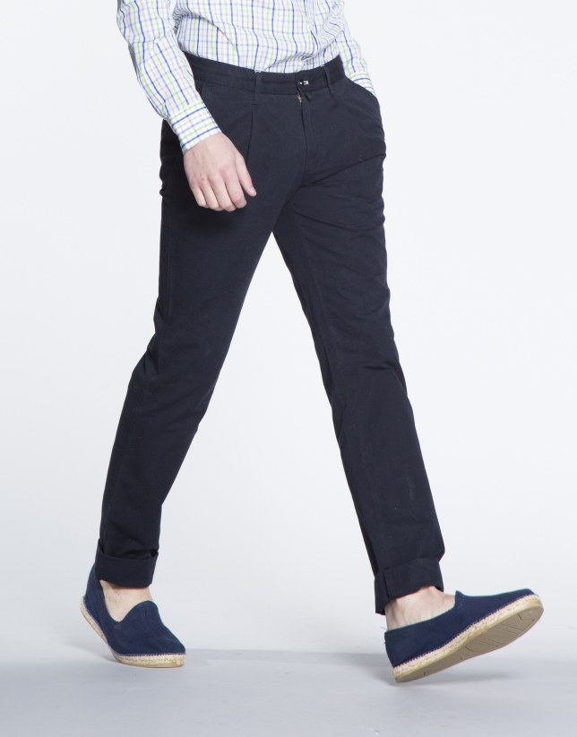 Navy blue pique sports pants