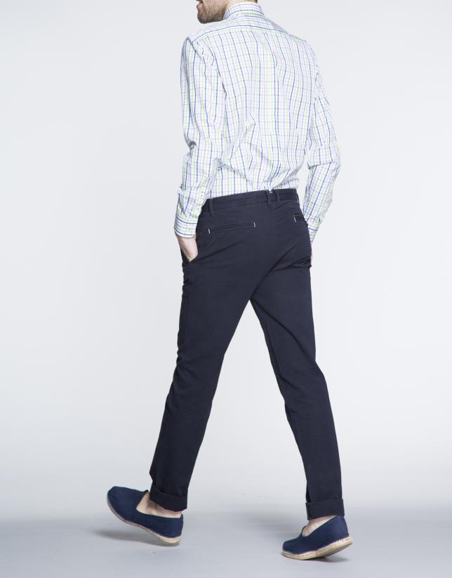 Navy blue pique sports pants