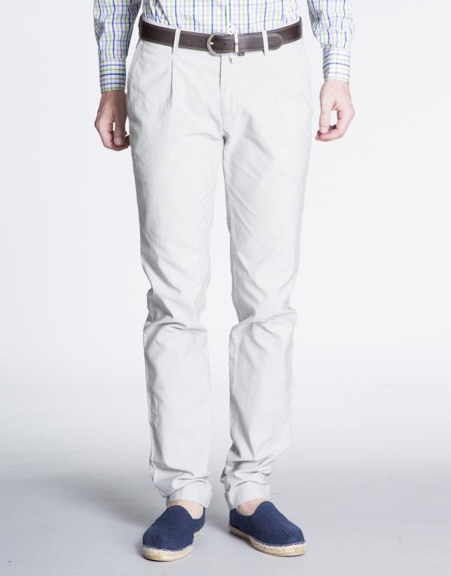 Pantalon ville gris clair ajusté