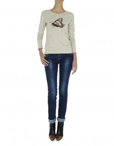 T-shirt beige à manches longues, illustration papillon