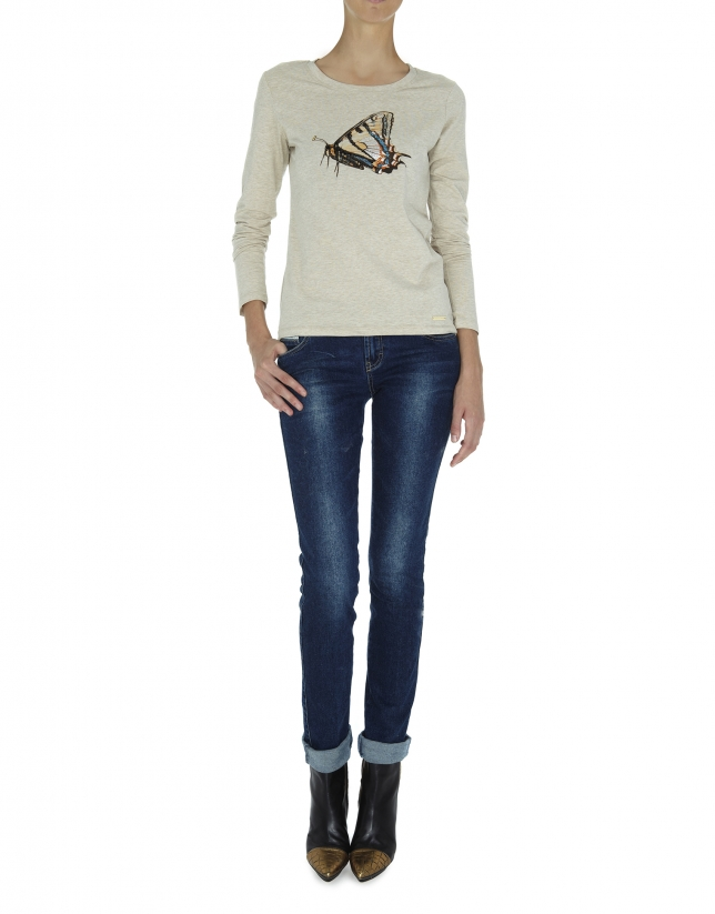 Beige long sleeved top with butterfly design