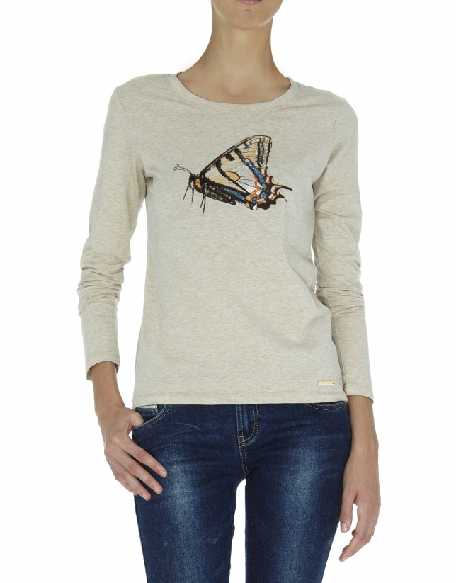 T-shirt beige à manches longues, illustration papillon