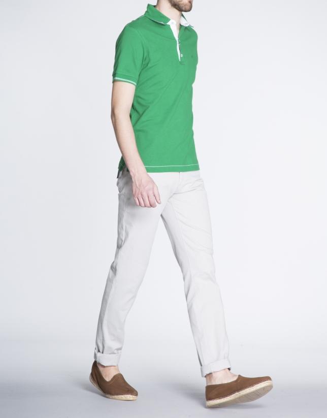 Cream microprint sports pants